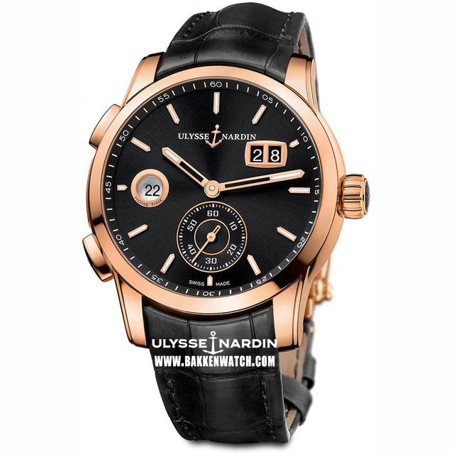 ulysse nardin executive dual time rose gold replica watch