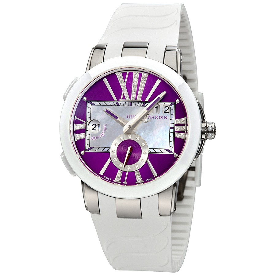 Ulysse Nardin Executive Dual Purple Dial Ladies GMT Watch 243-10-3/30-07