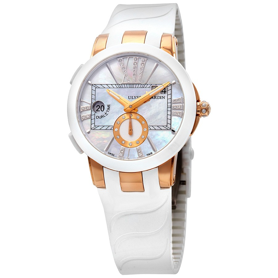 Ulysse Nardin Executive Dual Time Lady Mother of Pearl Dial Rubber Strap Automatic Ladies Watch 246-10-3-391