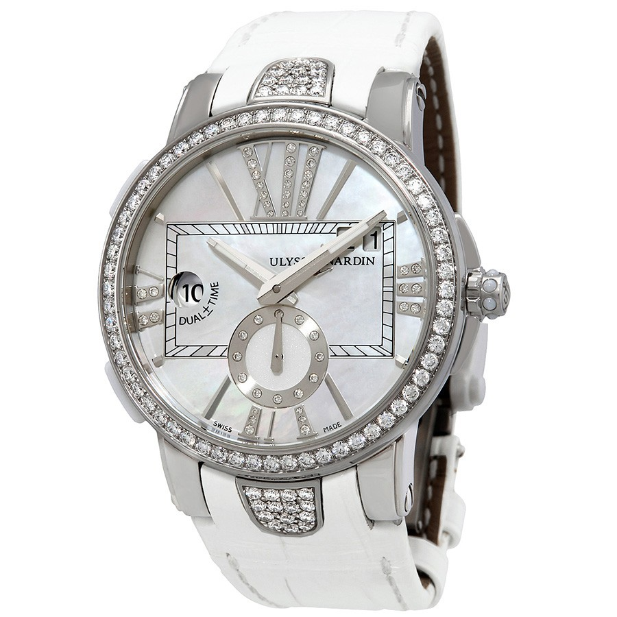 Ulysse Nardin Mother of Pearl Diamond Dial Stainless Steel White Leather Ladies Watch 243-10B-391